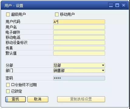 SAP用戶設置操作界面